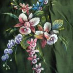 Orchid Fabric Painting Designs for Women's Fashion Clothing