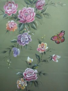 butterfly and roses fabric painting design