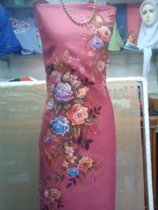 fabric painting roses design